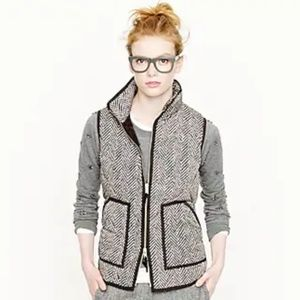 J. Crew Excursion Puffer Vest in Herringbone